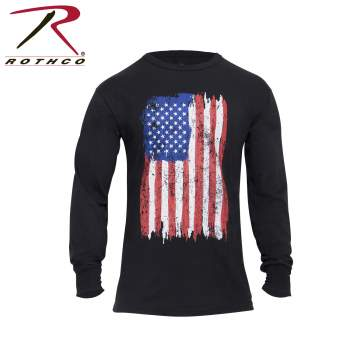 rothco, US Flag Tee, US Flag, long sleeve t-shirt, long sleeve tee, flag tee, american flag tee, us flag t-shirt, us flag long sleeve tee, distressed american flag tee, patriotic tee, patriotic t-shirt,