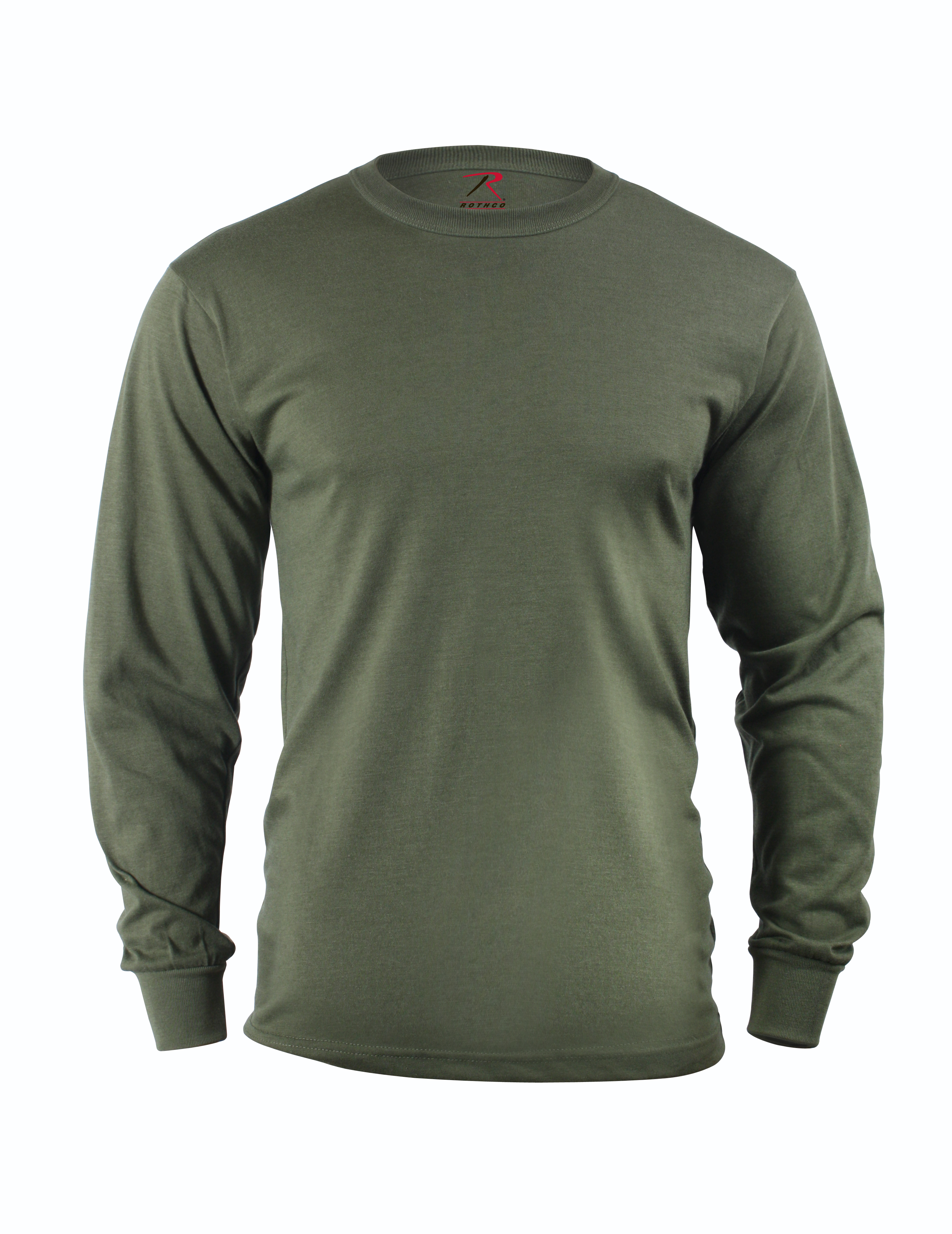 bdbbf7444ad Details about Rothco 60118 Long Sleeve Solid Poly Cotton T-Shirt - Olive  Drab