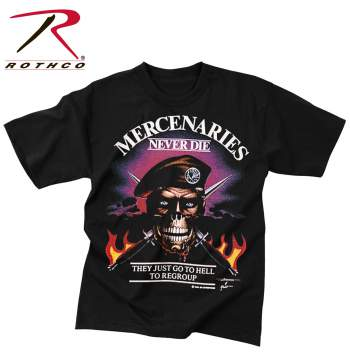 Rothco,t shirt print,tee shirt,short sleeve t shirt,short sleeve tee,tee shirts,t shirt,t-shirt,cotton tee,cotton tshirt,cotton t-shirt,poly tee,cotton poly t shirt,polyester cotton,Mercenaries Never Die tshirt,Mercenaries Never Die t-shirt,Mercenaries Never Die short sleeve,vintage tees,black tee,black tshirt,black t-shirt,Mercenaries Never Die They Just Go To Hell To Regroup,vintage,vintage tshirts,vintage t-shirts,vintage tee,Mercenaries tshirt,Mercenaries t-shirt,graphic tee