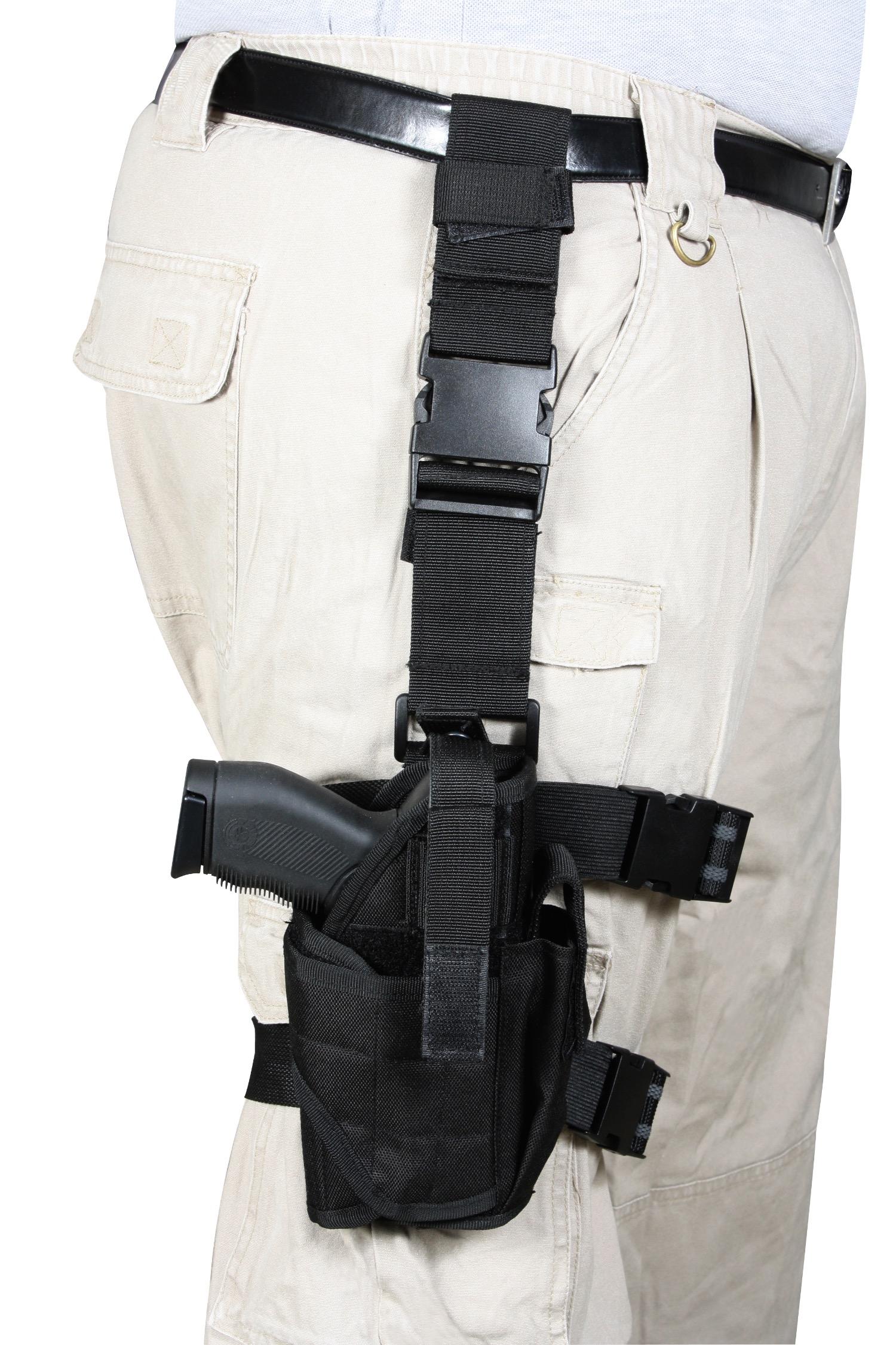 Rothco Drop Leg Tactical Holster - Black 10752 Черная тактическая набедренная кобура с регулировкой под большинство...