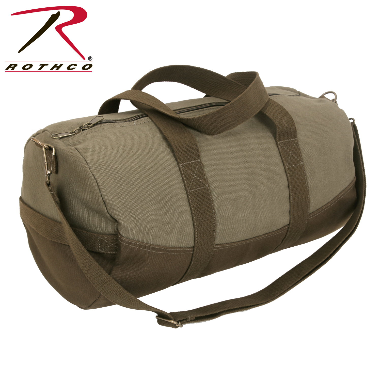 c8724ccfdbb4 Rothco Two-Tone Canvas Duffle Bag With Brown Bottom