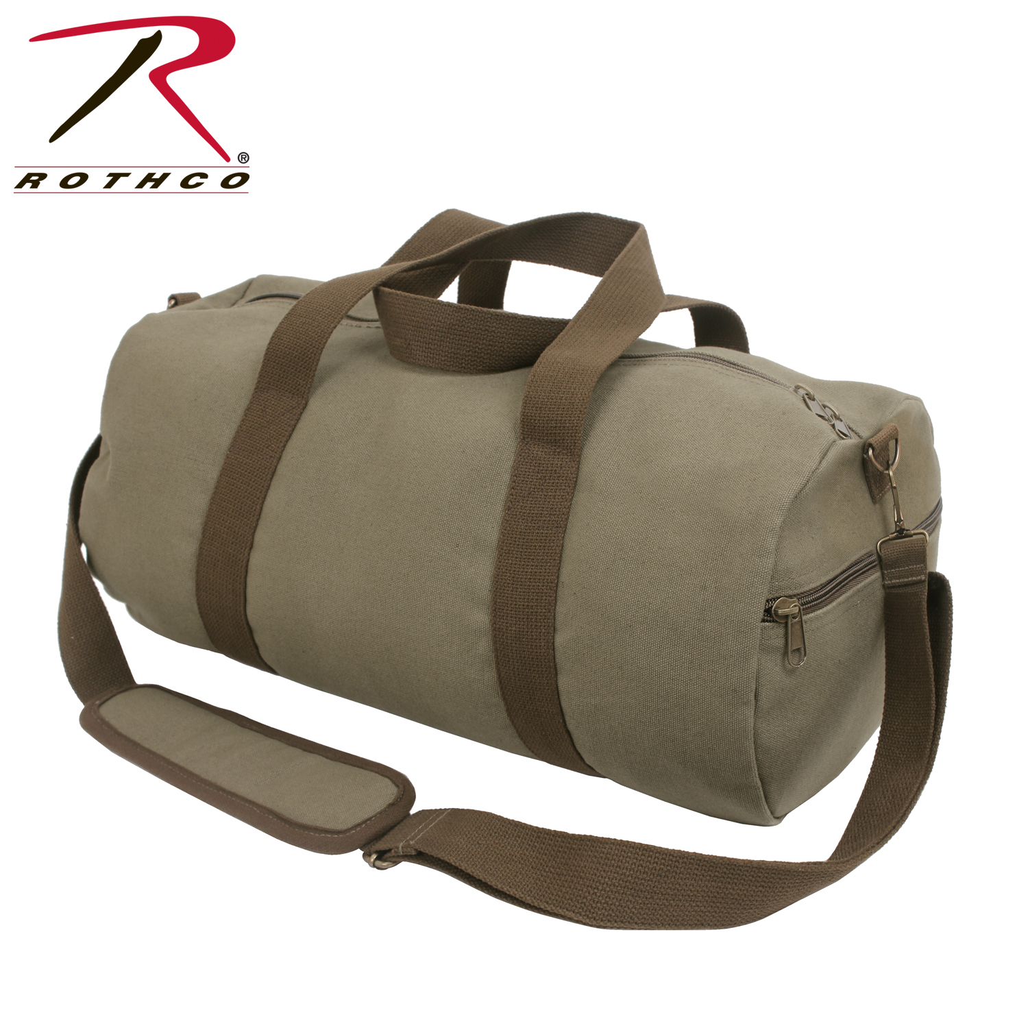 bffe623d1dd9 Rothco Two-Tone Canvas Shoulder Duffle Bag - Vintage Olive with Brown Straps