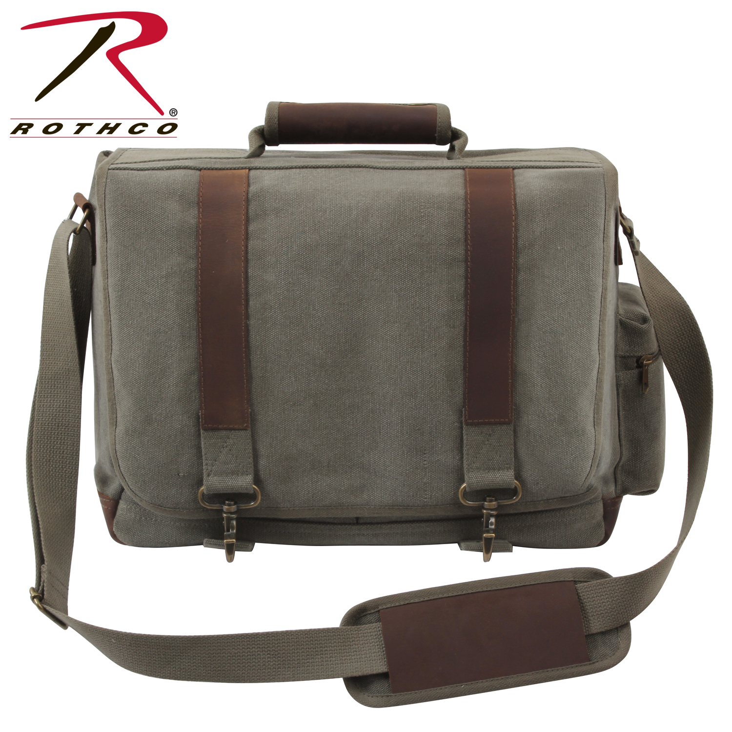 f95e30625bcf Rothco Vintage Canvas Pathfinder Laptop Bag With Leather Accents