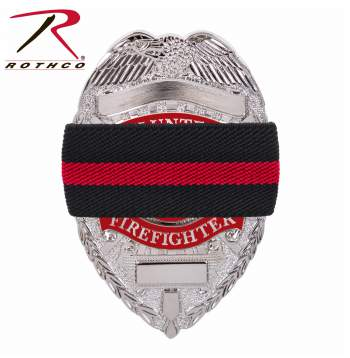 Thin Red Line, Fire Department, First Responder, Mourning Bands,  Fire Department Mourning Band, Fire Department Funeral Protocol, Mourning Badge, Badge With Black Band, Black Badge Band, Fire department Black Badge Band, Mourning Shroud, Thin Red Line Mourning Band, Fallen Fireman Band,