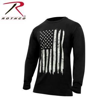 rothco, US Flag Tee, US Flag, long sleeve t-shirt, long sleeve tee, flag tee, american flag tee, us flag t-shirt, us flag long sleeve tee, distressed american flag tee, patriotic tee, patriotic t-shirt,
