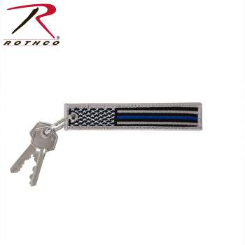 Thin Blue Line Flag, Thin Blue Line Flag Patch, Thin Blue Line Flag Patch Keychain, Rothco Keychain, TBL, Thin Blue Line, TBL Gear, Police Support, Flag Patch, Flag Patch Keychain