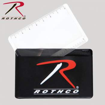 Rothco's Survival Magnifying Card And Ruler, magnifying card, ruler, fresnel lens, plastic magnifying card, credit card magnifier, survival tool, essential survival tool, magnifying glass,