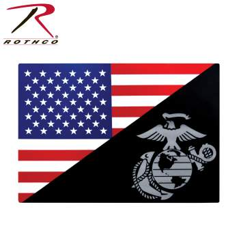 Rothco USMC Eagle, Globe and Anchor Flag Decal, military decals, window decals, US Marine corps, truck decals, car decals, window decals, American flag decal,