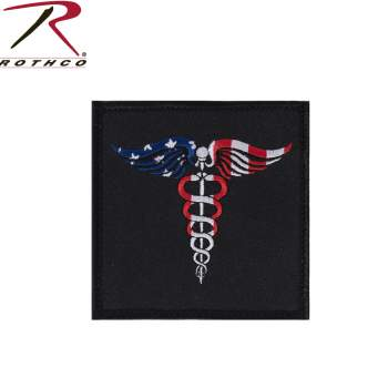 Rothco American Flag Caduceus Medical Symbol Patch with Hook Back, medical symbol, medical symbol snake, medical staff symbol, caduceus symbol, EMS, healthcare workers, American flag patch, hook and loop patches, first responders,