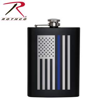 rothco stainless steel thin blue line flask, stainless steel thin blue line flask, rothco stainless steel flask, stainless steel flask, rothco thin blue line flask, thin blue line flask, flasks, rothco flasks, metal flask, steel flask, groomsmen flask, groomsman gift, engraved flask, printed flask, thin blue line gifts, thin blue line flag, thin blue line american flag, thin blue line products, thin blue line gear, hip flask, drink flask,