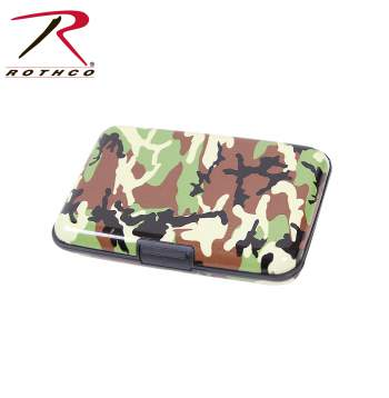 aluminum wallet, wallet, woodland camo, aluminum, credit card holder, money holder, security wallet, identity theft, rothco wallets, 22100, tactical wallet,