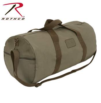 duffle bag, shoulder bag, canvas bag, travel bag, workout, gym, adjustable strap, two tone, dual tone, rothco, loop patch, military, tactical, style