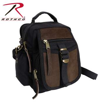 travel bag, canvas travel bag, shoulder bag, canvas shoulder bag, rothco bag, canvas bags, wholesale canvas bags, military canvas bags, canvas bags with leather accents, leather accent canvas bags, leather shoulder bag, edc, small canvas bag,