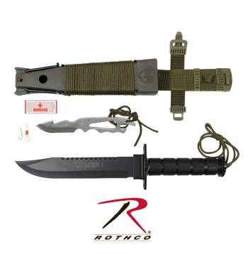 Rothco Deluxe Jungle Survival Kit Knife,Survival Kit Knife,survival kit,survival knife,survival knives,knife,knives,tactical knife,tactical knives,rothco knife kit,knife kit,rothco survival knife,rothco survival knife kit,jungle knife kit,jungle survival kit,zombie,zombies, military knife, military knives, hunting knives, outdoor knives