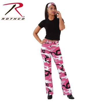 Camo pants,pink camo,pink camo pants,womens pants,womens stretch camo pants,stretch flare pants,pants with a flare,pink camouflage,womens camo pants,womens pink camouflage pants,camouflage,breast cancer awarness