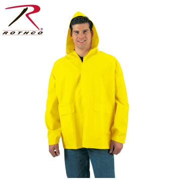 rain jacket, wet weather gear, PVC, PVC rain jacket, slicker, rainwear, outerwear, rain coat, raincoat,