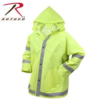 Rothco Safety Reflective Rain Jacket, rain jacket, rain coat, safety jacket, reflective rain coat, reflective rain jacket, wet weather gear, wet weather outerwear, jackets, safety jackets, rain jackets, PVC rain coat, PVC, reflective green, reflective orange, reflective jackets, reflective work jackets, high visibility jacket, high visibility safety jacket