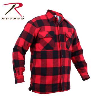 Extra heavy weight sherpa lined flannel shirt red black for Heavy plaid flannel shirt