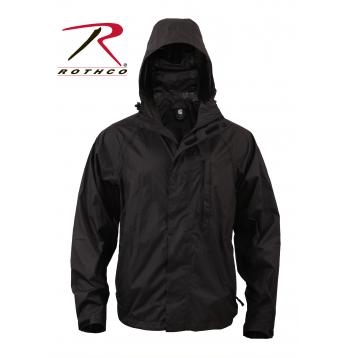 Rothco Packable Rain Jacket, black, rain jacket, rain coat, rainwear, rain wear, rip-stop, ripstop, rip stop, packable rain jacket, rothco, packable poncho, rain gear, black rain jacket