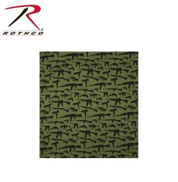 Rothco Bandana,bandana,headwear,guns bandana,guns headwear,black guns bandana,olive drab guns bandana, bandanas