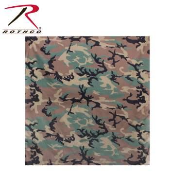 "Rothco 35"" camo bandana, Rothco Camo bandana, woodland camo, woodland camouflage, woodland camo bandana, woodland camouflage bandana, camouflage bandana, camo bandana, bandana, bandanas, military bandana, tactical bandana, tactical bandanas, military bandanas, army gear, military clothing, camouflage clothing, camo clothing, headwear, wholesale bandanas, head wear, biker bandanas"