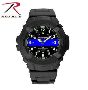 Aquaforce Thin Blue Line Watch, thin blue line, water resistant watches, watch thin blue line, wristwatch, wrist watch, thin blue line wrist watch, thin blue line watch
