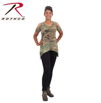 camo, camouflage, womens camo clothing, camouflage clothes womens, womens camouflage clothing, camo clothing for women, ladies camo clothing, womens camo apparel, cold shoulder top, womens cold shoulder top, cut out shoulder top, camo cold shoulder top, could shoulder blouse, peep shoulder top,