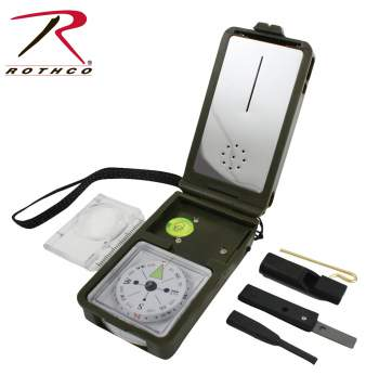 compass,fahrenheit thermometer, hygrometer , mirror, spirit level bubble level, flint components, whistle, magnifier, ruler, led light, uses 2 lithium batteries, mutli-tool, muti compass, multi functioning compass, compasses, military compass, survival tool, survival gear, survival items