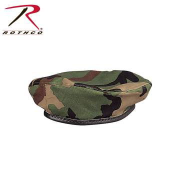 Rothco Beret,Government issue Beret,beret,hat,headwear,woodland camo beret,woodland camo military beret,military beret,wool beret