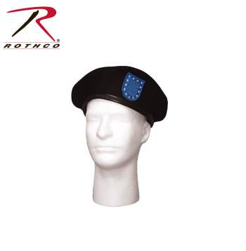 Rothco Beret,Government issue Beret,beret,hat,headwear,black beret,black military beret,military beret,wool beret,blue flash,blue flash beret