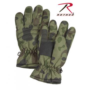Rothco Kid's Camo Thermoblock Insulated Gloves, winter gloves, kids gloves, childrens gloves, thermoblock, leather palm, cotton, polyester, insulated lining, camo gloves, camouflage gloves