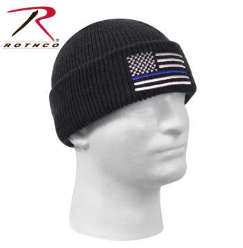 Rothco Thin Blue Line Deluxe Embroidered Watch Cap, thin blue line, police support hat, police hat, flag hat, rothco embroidered watch cap, rothco watch cap, watch cap, knitted watch cap, thin blue line watch cap, watch cap thin blue line, beanie, cold weather cap, military watch cap, knit watch cap, army watch cap,