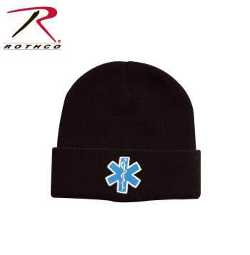 Rothco 'Star Of Life' Watch Cap, star of life watch cap, ems watch cap, emt watch cap, watch cap, beanie, winter hat, star of life beanie, skull cap, military watch cap, winter hats, watch hat, cold weather hats,