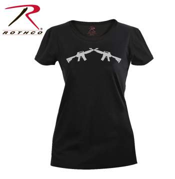 longer length t-shirt,long tee,printed t-shirt for womens,womens graphic t-shirt,grahic t-shirt,guns print,cross rifles