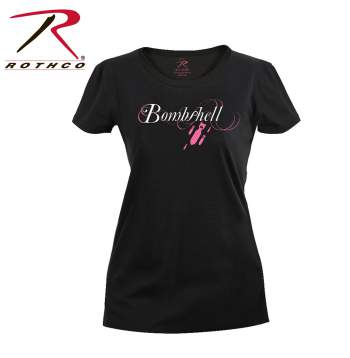 longer length t-shirt,long tee,printed t-shirt for womens,womens graphic t-shirt,graphic t-shirt,bombshell t-shirt, rothco womens bombshell t-shirt, military t-shirt for women, womens military clothing,