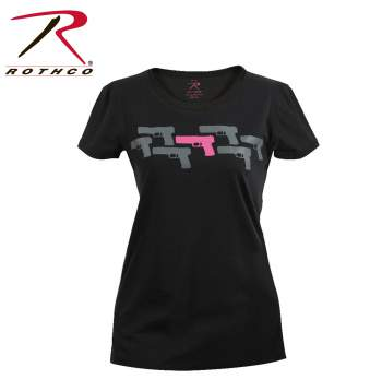 longer length t-shirt,long tee,printed t-shirt for womens,womens graphic t-shirt,grahic t-shirt,guns print,pink guns,