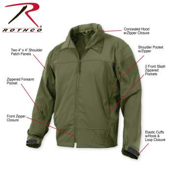 Stealth Ops Soft Shell Black Tactical Jacket Rothco 3577