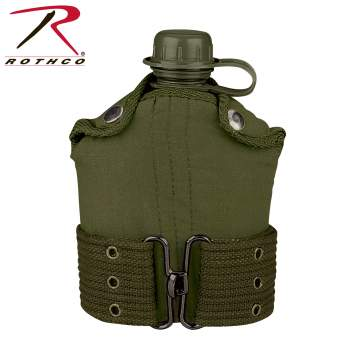 Rothco G.I. Type Plastic Canteen & Pistol Belt Kit, GI Canteen, Canteen And Cover, Canteen And Pistol Belt, Canteen With Cover, Canteen With Pistol Belt Cover, Canteen, Military Canteen, Army Canteen, Canteen With Pistol Belt