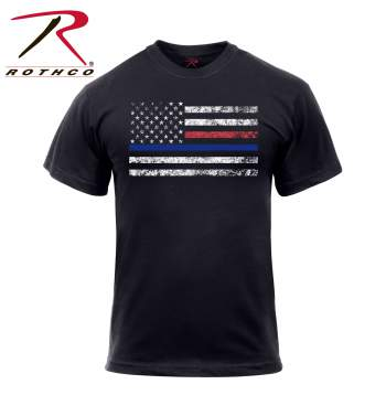 Thin Blue Line, Thin Red Line, Rothco, T-Shirt, Tee, US Flag, American Flag, T shirt, police, police force, police department, firefighter, fire department, law enforcement, first responders