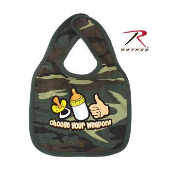 Rothco Choose Your Weapon Infant Bib, baby bib, bib, bibs, choose your weapon, cotton, woodland camo, camouflage, hook and loop