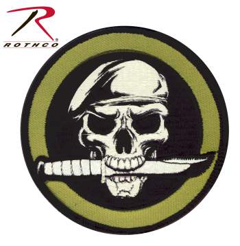 Rothco Military Skull / Knife Patch With Hook Back, Rothco Military Skull / Knife Patch, skull knife patch, military skull knife, military skull knife patch, patch, patches,  airsoft patch, airsoft, airsoft patches, military patches, military patch, tactical patch, morale patch, tactical airsoft patches, morale patch, hook and loop patch, tactical patches, military velco patches,