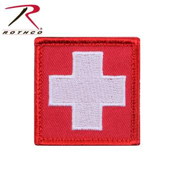 Rothco White Cross Patch, Red,  Hook Backing, hook and loop, patch, patches, white cross, emergency, emt, ems, wholesale patches, tactical patches, military morale patches, funny morale patches, moral patch, military velcro patches, tactical airsoft morale patches, airsoft morale patches, airsoft patches, morale patch
