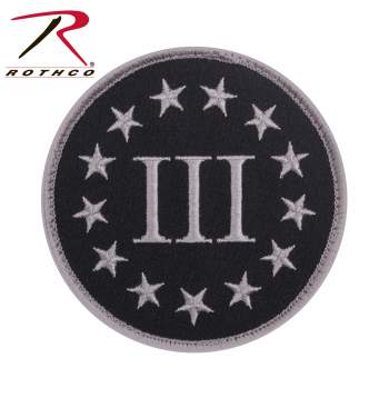Rothco 3% Patch With Hook Back, 3 percenters, the 3 percenters, iii percenters, the three percent, 3 percenters patch, the 3 percenters patch, iii percenters patch, the three percent patch, three percenters, three percenters patch