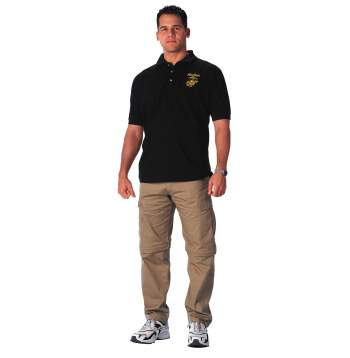Rothco,Military Embroidered Golf Shirts,military golf shirt,marines golf shirt,army golf shirt,military polo,marines polo,army polo,black military polo,black marines polo,black army polo,military collared shirt,marines collared shirt,army collared shirt,cotton shirt,cotton polo,cotton collared shirt
