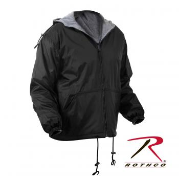rothco, reversible jacket,water proof,water proof jacket,rain wear,rain gear,rain coat,rain jacket,outerwear,rip stop,nylon,nylon jacket,polyester,black,hooded jacket,black jacket,navy blue,navy blue jacket,woodland camo, camo jacket