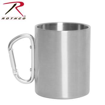 Rothco Stainless Steel Camping Cup With Carabiner, carabiner cup,  carabiner mug, carabiner camping mug, carabiner handle stainless steel mug, travel coffee mug with carabiner handle, travel mug with carabiner handle, camping cup, clip mug, camping coffee cup, travel mug, travel cup, stainless steel cup, stainless steel mug, camping mug