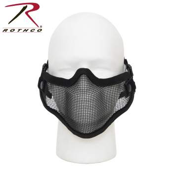 Rothco Carbon Steel Half Face Mask - Black, airsoft, airsoft mask, mask, masks, face mask, face masks, tactical gear, airsoft gear, loadout gear, loadout supplies, airsoft, air-soft, half mask, half face mask, face cover, face protection, paintball face mask, paintball gear, half-face cover, military mask, airsoft face mask, airsoft mask, tactical airsoft mask, airsoft face protection, half airsoft mask, airsoft half mask, tactical mask, face protection mask, airsoft mesh mask, tactical face mask, airsoft face protection