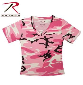 womens camo t-shirt,camo t-shirt,camouflage t-shirt,woodland camouflage,v-neck,v-neck camo t-shirt,