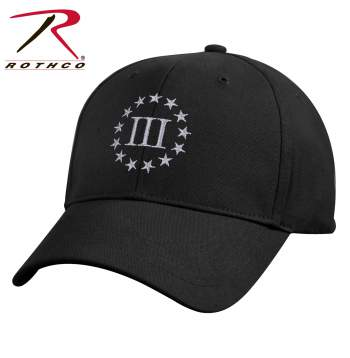 rothco 3% deluxe low profile cap, 3% deluxe low profile cap, 3 percenter low profile cap, low profile cap, 3 percenter cap, 3 percenter hat, three percenter cap, three percenter gear, Rothco Three Percenter Deluxe Low Profile Cap