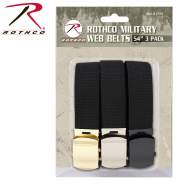 Rothco 54 Inch Black Military Web Belts in 3 Pack, Army Web Belt, Military Web Belt, US Military Belt, Army Belt, Web Belt, Black Web Belt, 3 Pack Of Belts, 3 Pack Belts, 3 Belts